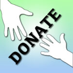 """MEJAC donate button featuring two sillouetted hands reaching for one another with the word """"donate"""" superimposed across the image"""
