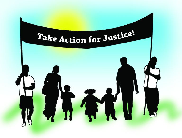 """Sillouettes of people marching holding a banner, which reads """"Take Action for Justice!"""""""