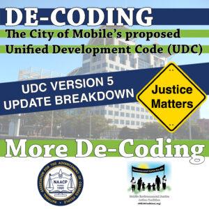 "De-Coding the City of Mobile's proposed UDC theme banner ""More De-Coding: UDC Version 5 Update Breakdown"""