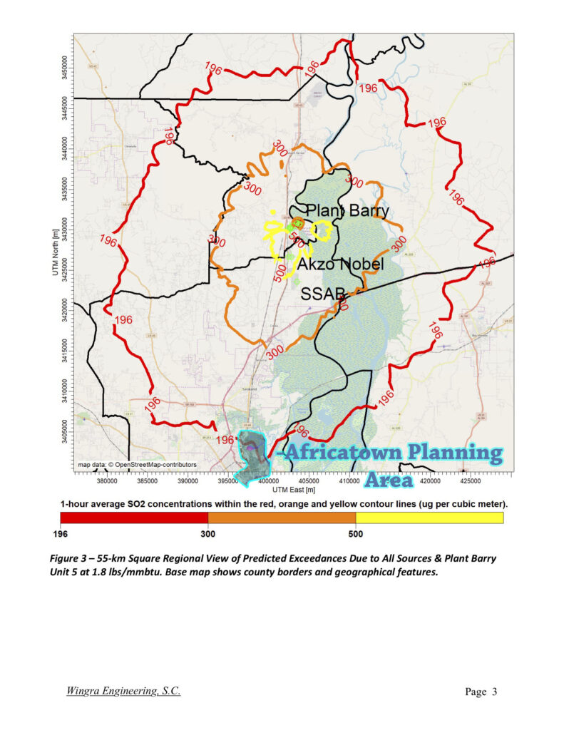 An image from the Attachments to Petition to Object to APC Barry Title V Permit, Sub-Attachment 1, page 3, with the Africatown Planning Area highlighted for orientation showing Africatown's air quality being impacted by illegally high levels of SO2